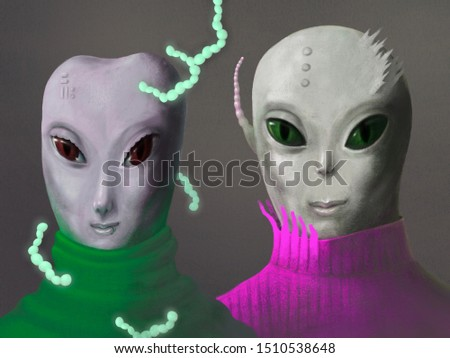 Characters of alien woman with alien man ,futuristic art, painting illustration, fashion