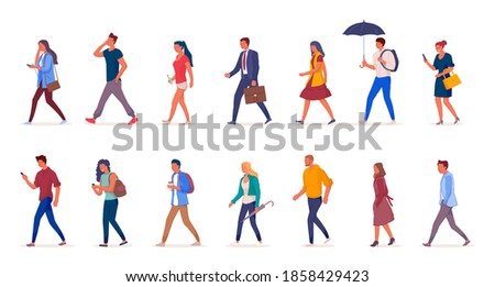 Characters of people walking down the street in light clothes illustation. Young girls and men walk isolated on a white background side view. Stok fotoğraf ©