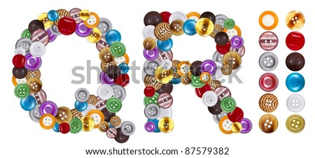 Characters Q and R made of colorful clothing buttons. Standalone design elements attached