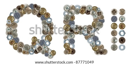 Characters Q and R made of nuts and bolts head. Standalone design elements attached
