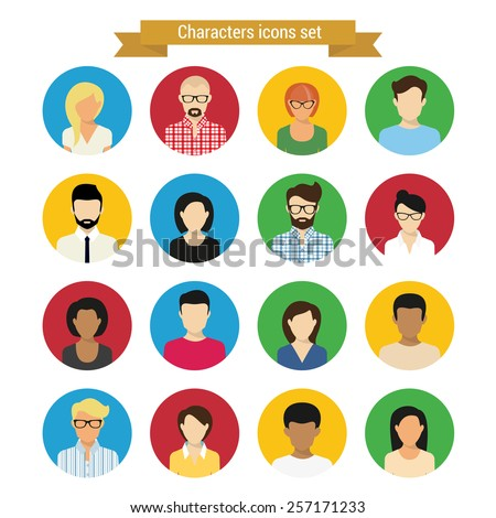 Characters round icons set of modern people isolated on white