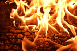 Charbon de bois flames Burnt wood Attention, stop do not open fire zone Flame smoke, BBQ grill, campfire or bonfire  Warning area blaze fire flame conflagration texture for banner background. Ablaze.