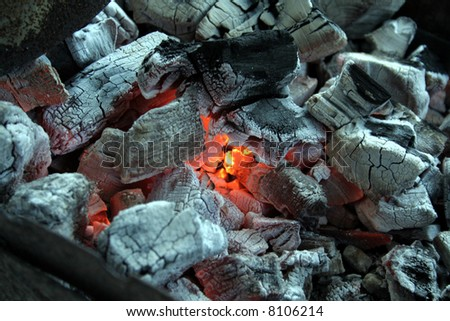 Charcoal, Barbecue fire  - ready for the meat !!!