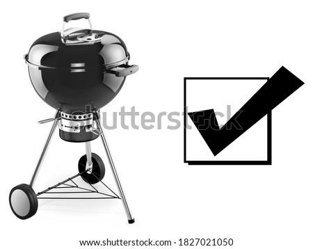 Charcoal BBQ Barbecue Grill Isolated on White Background. Front Side View of Black Kettle Grill. Portable BBQ Grillware. Outdoor Cooking Station. Outdoor Grill Table. Clipping Path