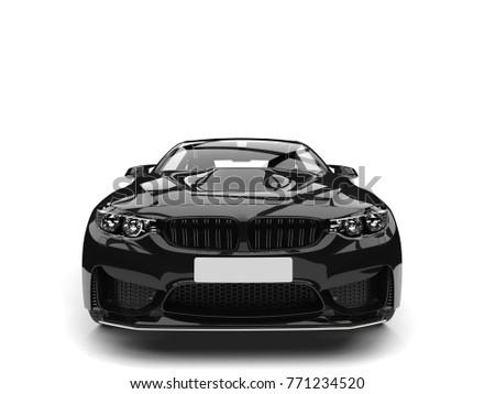 Charcoal black modern sports car - front view - 3D Illustration