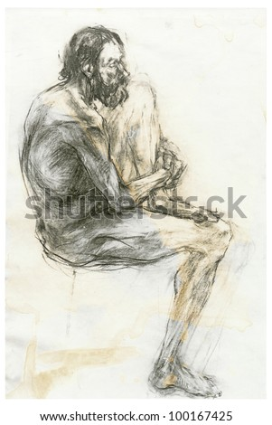 Charcoal drawing - sitting model, naked old man (gender not shown). On the subject of Renaissance masters.