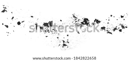 Charcoal dust. Black coal powder scattered, isolated on a white background. Wooden charcoal.