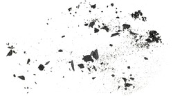Charcoal dust with fragments isolated on a white background, top view.