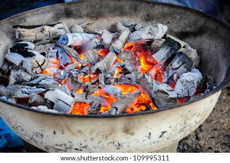 Charcoal fire prepare for cooking.