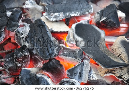 Charcoal glowing in barbecue.