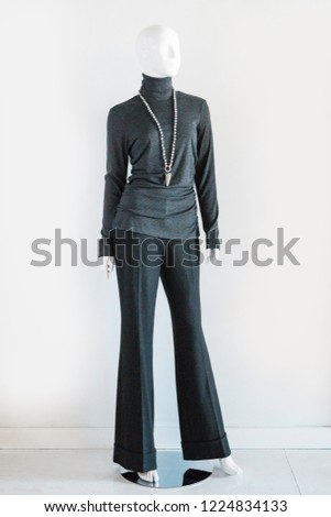 Charcoal Grey Turtle Neck Blouse #1224834133