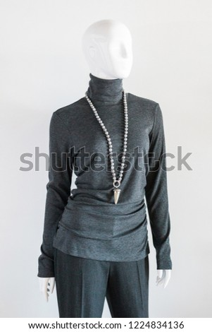 Charcoal Grey Turtle Neck Blouse #1224834136