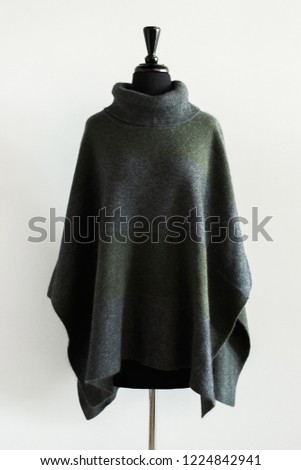 Charcoal Grey Turtle Neck Poncho Cape #1224842941