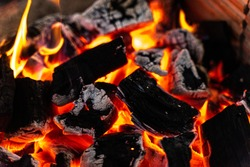 Charcoal is on fire, used in cooking
