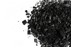 Charcoal or coal carbon  texture isolated on white background
