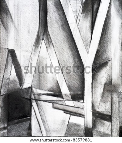 charcoal study for an abstract painting