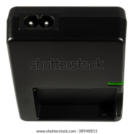 Charger for lithium-ion batteries with green lamp, isolated on a white background