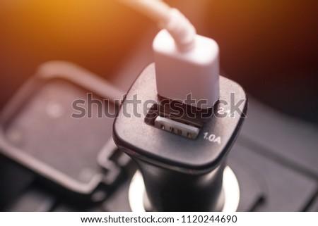 Charger plug phone on car #1120244690