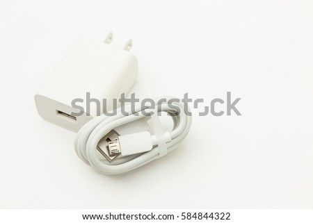 Charger wire with usb port on white background  #584844322