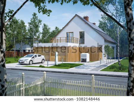 Charging an electric car in front of your house cool mood