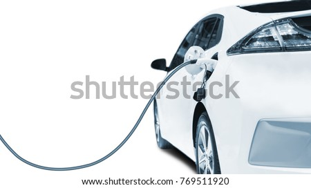 Charging an electric car in residential garage, Future of transportation #769511920