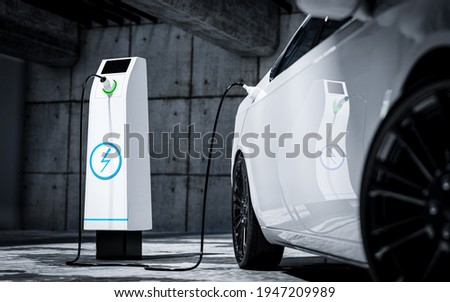 Charging an electric car with a public charger in a parking lot - 3d rendering Foto stock ©