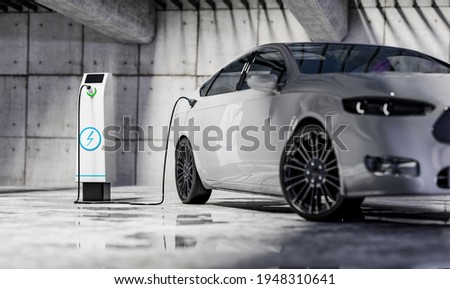 Charging an electric car with a public charger in a parking lot - 3d rendering Stockfoto ©