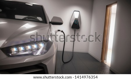 charging electric car generic suv in garage 3d rendering Stockfoto ©