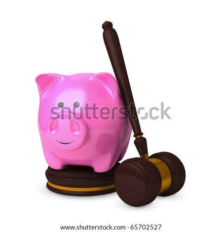 Charging order concept. Piggy bank on sound block with gavel isolated on white. Soft shadow