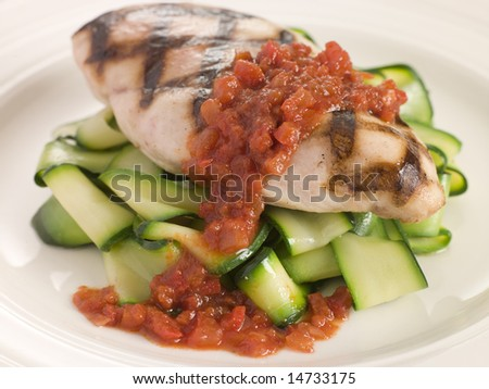 Chargrilled Chicken Breast with Courgette Ribbons and Tomato Concasse