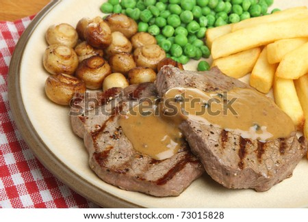 Chargrilled Rump Steak With Pepper Sauce, Chips, Peas And Mushrooms ...