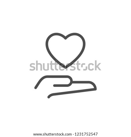 Charity line icon isolated on white