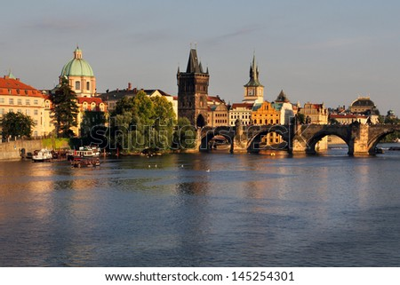 Charles Bridge and architecture of the old town in Prague, Czech republic.