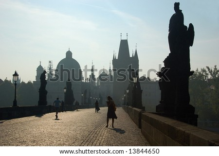 Charles Bridge at sunrise, Prague, Czech republic