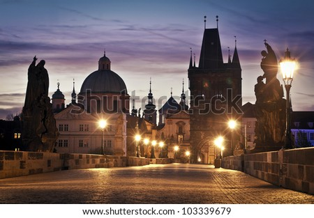 Charles Bridge in Prague at dawn; Czech Republic