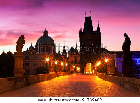 Charles Bridge in Prague (Czech Republic) at dawn