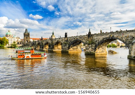Charles Bridge in Prague, Czech Republic on a sunny day
