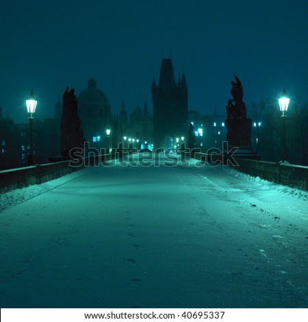 Charles bridge in winter, Prague, Czech Republic