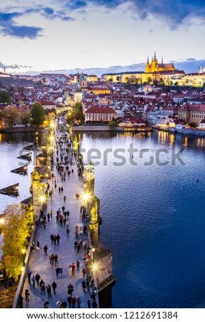 Charles bridge on Moldau river, Lesser town (UNESCO), Prague castle, Prague, Czech republic