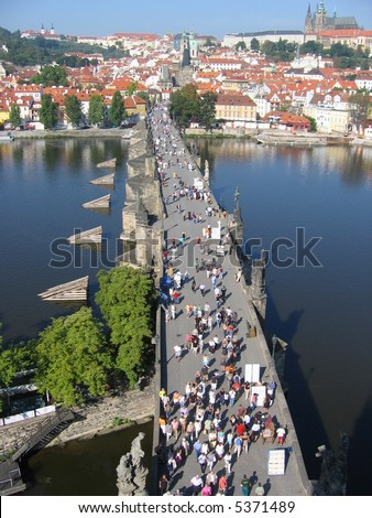 Charles Bridge, view from the tower. Prague,Czech republic.