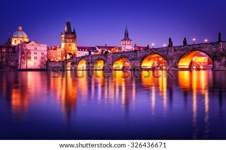 stock photo charles bridge water reflection prague czech republic 326436671 - Каталог — Фотообои «Мосты»