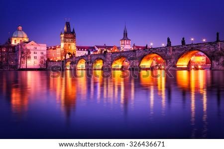 Charles bridge water reflection, Prague, Czech republic