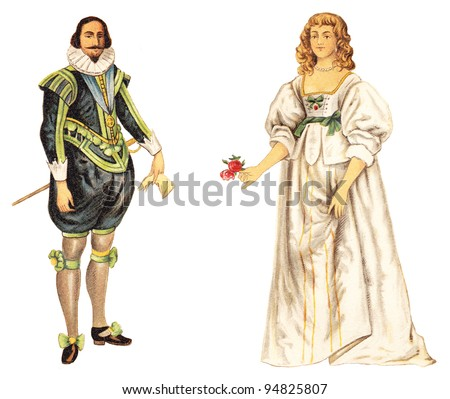 Charles I of England and english noblewoman (1624-1640) / vintage illustration from Meyers Konversations-Lexikon 1897