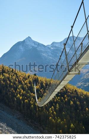 Charles Kuonen suspension bridge in Swiss Alps