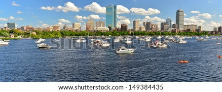 Charles River and Boston skyline from Cambridge on a 4th of July, MA, USA