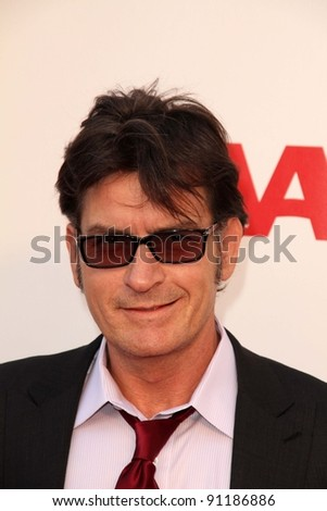 """Charlie Sheen at the AARP Movies For Grownups Premiere of """"The Way,"""" Nokia Theater, Los Angeles, CA 09-23-11 - stock photo"""