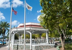 Charlotte Amalie town Emancipation park with wooden gazebo was built to commemorate the abolition of slavery (St. Thomas, U.S. Virgin Islands).