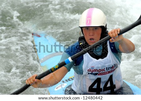 CHARLOTTE - APRIL 27: Emily Jackson of the USA competes in the Olympic Team Trials for Whitewater Slalom at the U.S. National Whitewater Center on April 27, 2008 in Charlotte, NC.