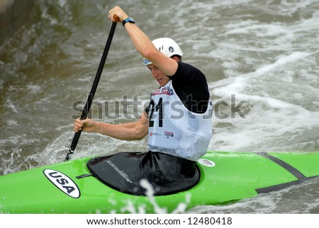 CHARLOTTE - APRIL 27: Erik Amason of the USA competes in the Olympic Team Trials for Whitewater Slalom at the U.S. National Whitewater Center on April 27, 2008 in Charlotte, NC.