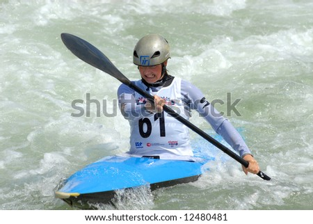 CHARLOTTE - APRIL 26: Heather Corrie of the USA competes in the Olympic Team Trials for Whitewater Slalom at the U.S. National Whitewater Center on April 27, 2008 in Charlotte, NC.